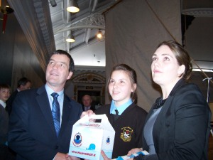 Receiving the prize from Minister Dempsey